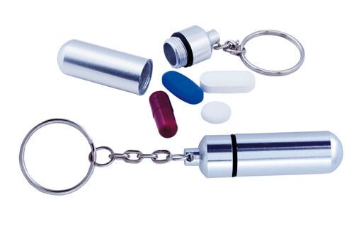 Alumpill box na pilulky s přívěškem na klíče