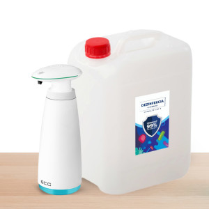 Bezdotykový dávkovač ECG BD34 + 5L alkoholová dezinfekce