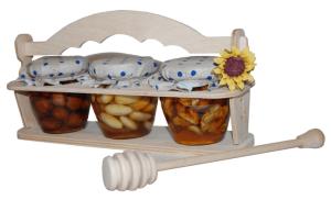 Sada 3 druhů oříšků v medu ve stojanu
