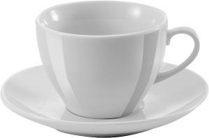 obrazok Porcelánová šálka s podšálkou, 250 ml, biela 48ks - Reklamnepredmety