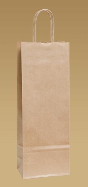 Ekologické papírové tašky na víno s krouceným uchem