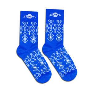 Ponožky modré s lidovým vzorem