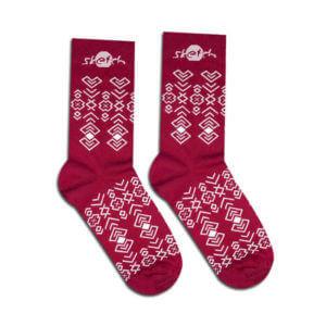 Ponožky bordové s lidovým vzorem