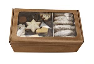 Rodinné balení -  máslového čajového pečiva, máslový perník, grilážové řezy, kartonová krabička kraft