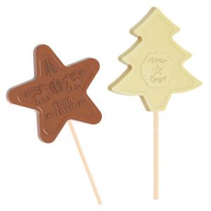 Čokoládové lízátko hvězdička, stromeček - vánoční motivy