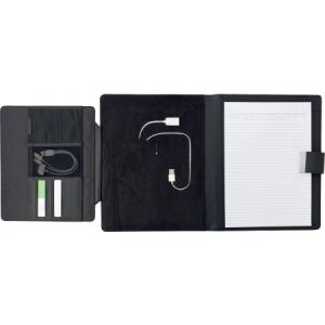 Složka A4 PU s power bank a tabletovým držákem, černá