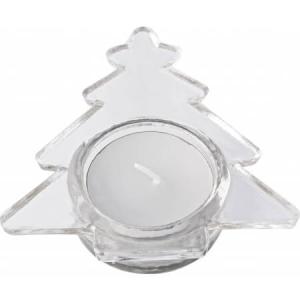 Skleněný svícen ve tvaru vánočního stromečku s bílou svíčkou