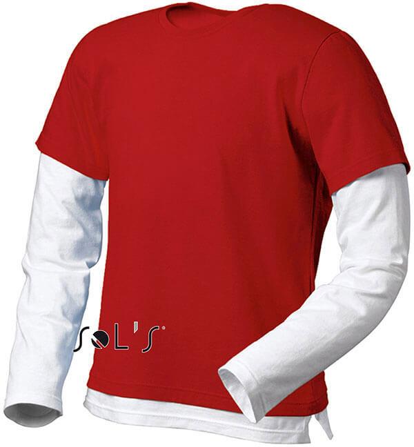 Dvoubarevné pánské tričko, dlouhý rukáv