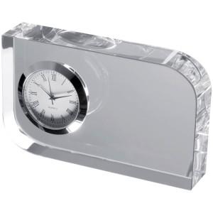 Elegantní skleněná dekorace s malými hodinami